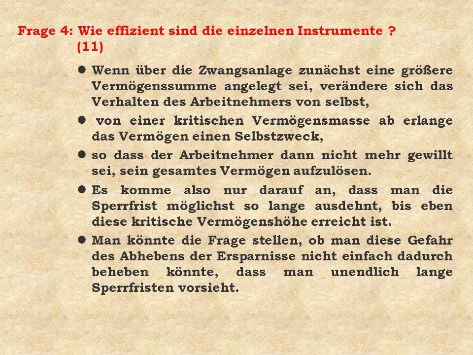 Frage 4: Wie effizient sind die einzelnen Instrumente ? (11) l Wenn über die Zwangsanlage zunächst eine größere Vermögenssumme angelegt sei, verändere