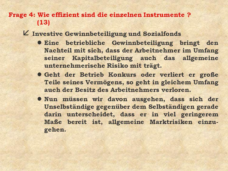 Frage 4: Wie effizient sind die einzelnen Instrumente ? (13) å Investive Gewinnbeteiligung und Sozialfonds l Eine betriebliche Gewinnbeteiligung bring