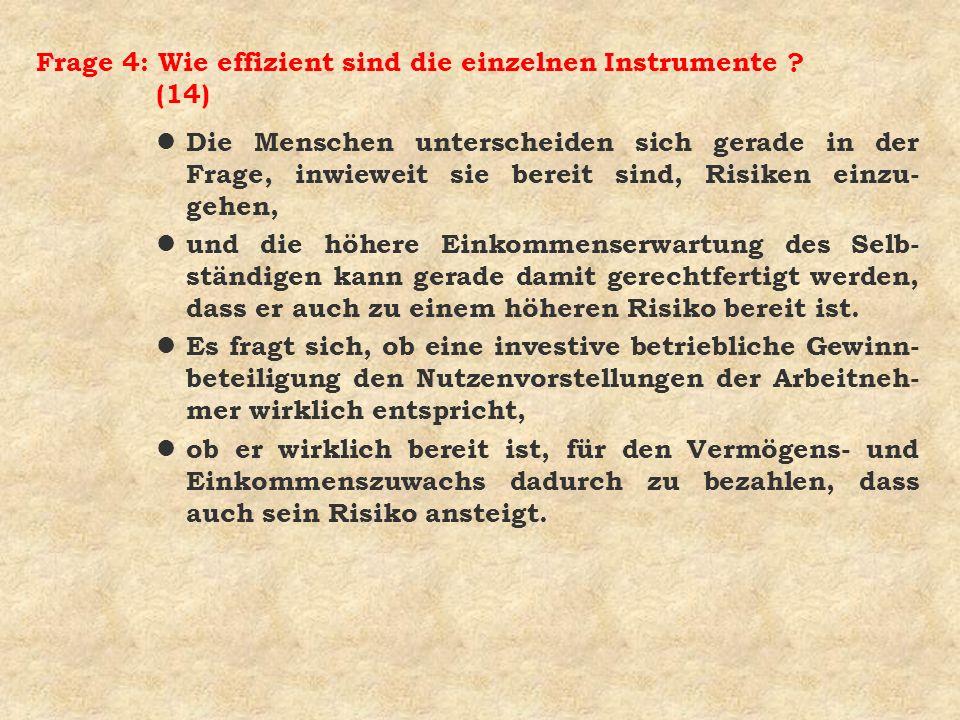 Frage 4: Wie effizient sind die einzelnen Instrumente ? (14) l Die Menschen unterscheiden sich gerade in der Frage, inwieweit sie bereit sind, Risiken