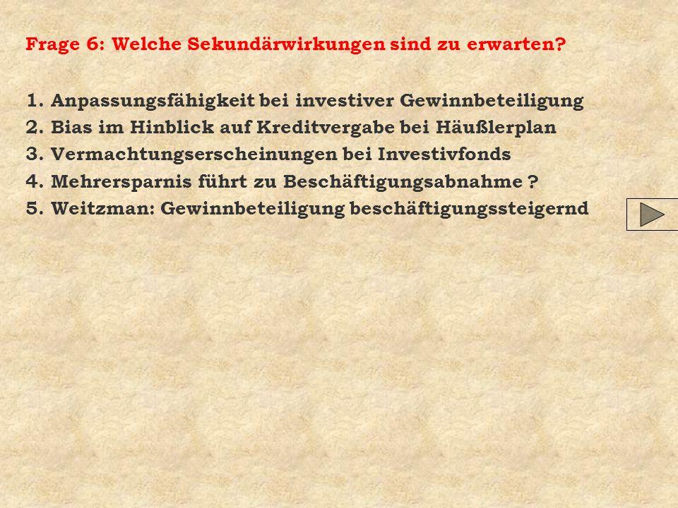 Frage 6: Welche Sekundärwirkungen sind zu erwarten? 1. Anpassungsfähigkeit bei investiver Gewinnbeteiligung 2. Bias im Hinblick auf Kreditvergabe bei