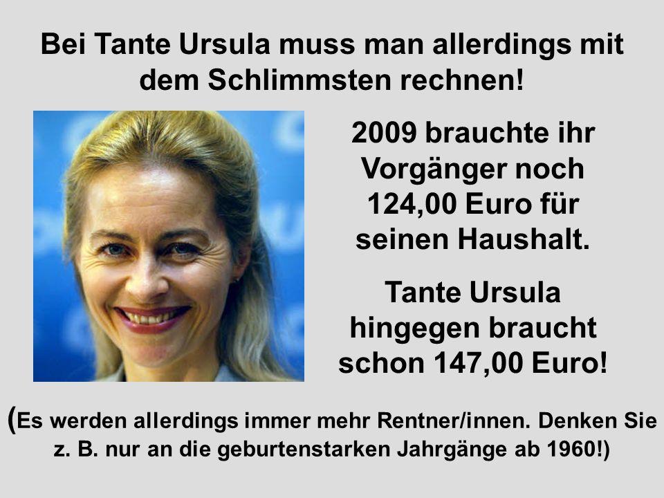 Deshalb brauchen wir einen grosszügigen Kredit in Höhe von 86,00 Euro! Damit hätten wir dann 1.786,00 PLUS X EURO SCHULDEN bis Ende 2010 angehäuft! Na