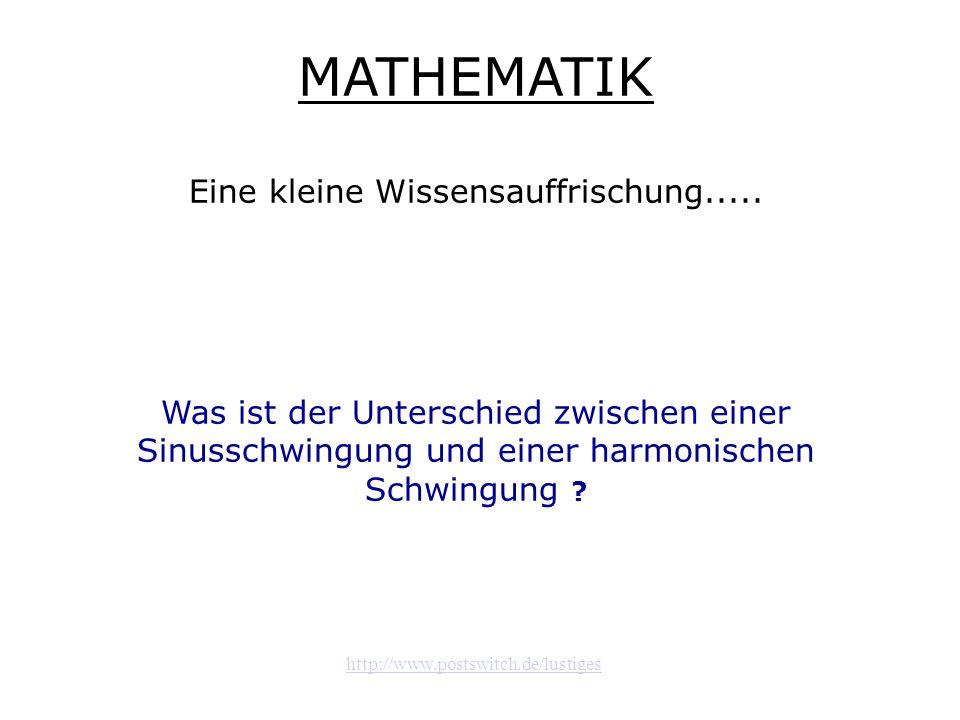 http://www.postswitch.de/lustiges MATHEMATIK Eine kleine Wissensauffrischung..... Was ist der Unterschied zwischen einer Sinusschwingung und einer har