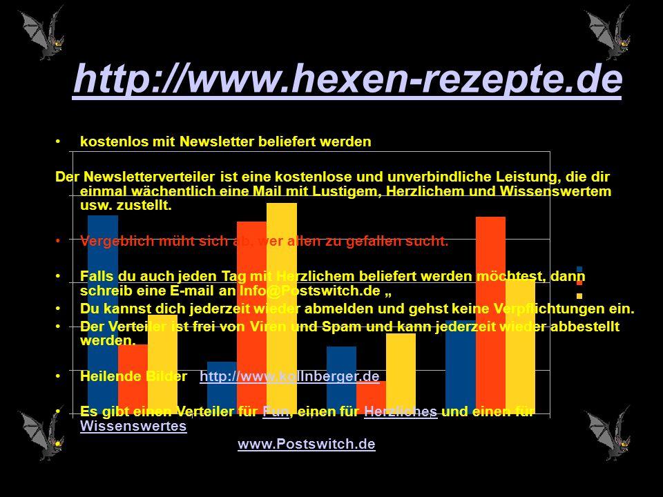 http://www.hexen-rezepte.de kostenlos mit Newsletter beliefert werden Der Newsletterverteiler ist eine kostenlose und unverbindliche Leistung, die dir einmal wächentlich eine Mail mit Lustigem, Herzlichem und Wissenswertem usw.