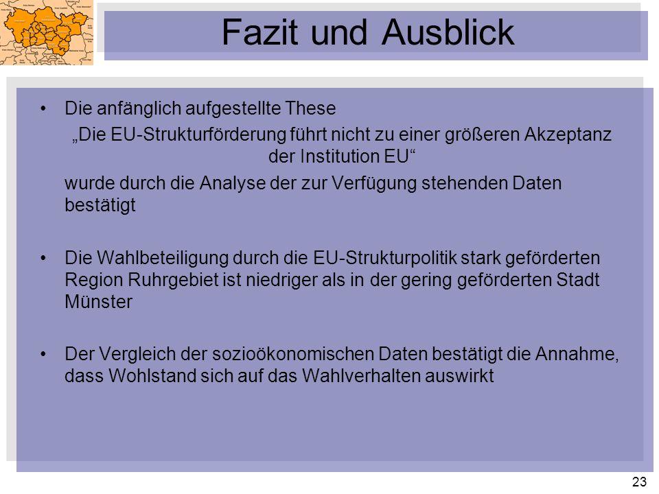 23 Fazit und Ausblick Die anfänglich aufgestellte These Die EU-Strukturförderung führt nicht zu einer größeren Akzeptanz der Institution EU wurde durc