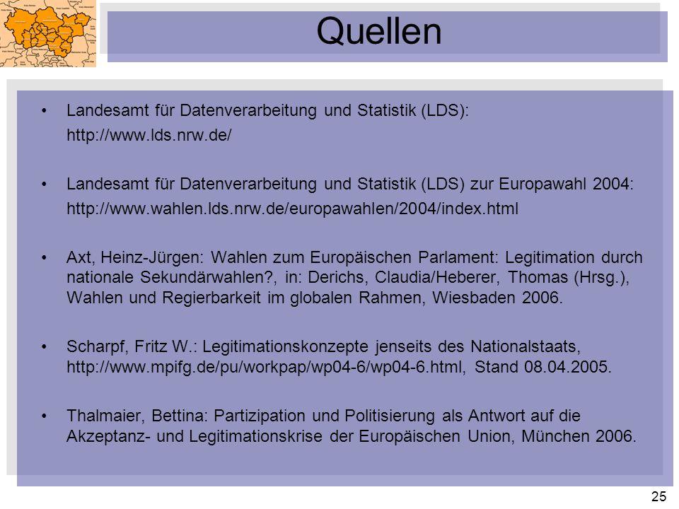 25 Quellen Landesamt für Datenverarbeitung und Statistik (LDS): http://www.lds.nrw.de/ Landesamt für Datenverarbeitung und Statistik (LDS) zur Europawahl 2004: http://www.wahlen.lds.nrw.de/europawahlen/2004/index.html Axt, Heinz-Jürgen: Wahlen zum Europäischen Parlament: Legitimation durch nationale Sekundärwahlen?, in: Derichs, Claudia/Heberer, Thomas (Hrsg.), Wahlen und Regierbarkeit im globalen Rahmen, Wiesbaden 2006.