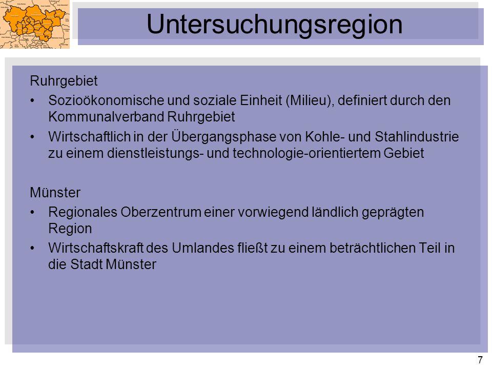 7 Untersuchungsregion Ruhrgebiet Sozioökonomische und soziale Einheit (Milieu), definiert durch den Kommunalverband Ruhrgebiet Wirtschaftlich in der Übergangsphase von Kohle- und Stahlindustrie zu einem dienstleistungs- und technologie-orientiertem Gebiet Münster Regionales Oberzentrum einer vorwiegend ländlich geprägten Region Wirtschaftskraft des Umlandes fließt zu einem beträchtlichen Teil in die Stadt Münster