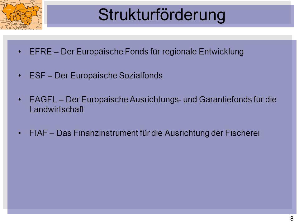 8 Strukturförderung EFRE – Der Europäische Fonds für regionale Entwicklung ESF – Der Europäische Sozialfonds EAGFL – Der Europäische Ausrichtungs- und Garantiefonds für die Landwirtschaft FIAF – Das Finanzinstrument für die Ausrichtung der Fischerei