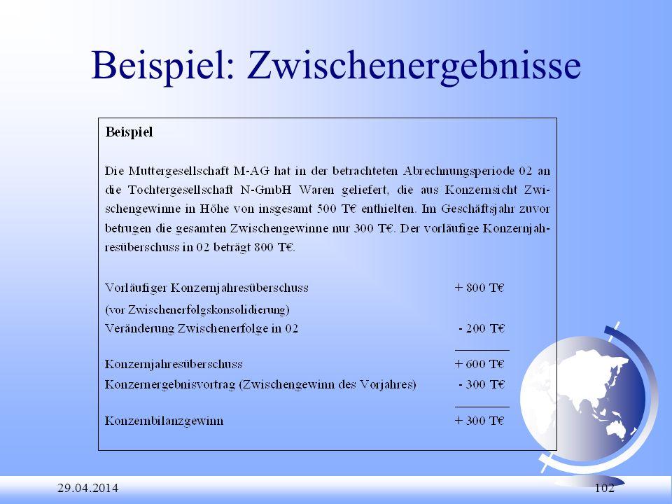 29.04.2014 102 Beispiel: Zwischenergebnisse