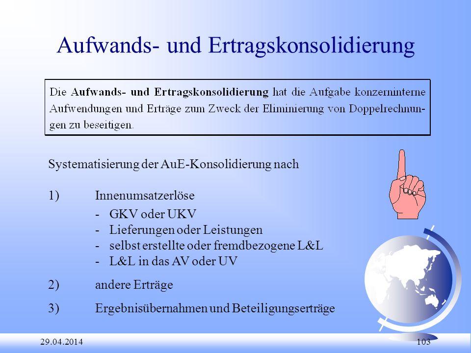 29.04.2014 103 Aufwands- und Ertragskonsolidierung Systematisierung der AuE-Konsolidierung nach 1)Innenumsatzerlöse - GKV oder UKV - Lieferungen oder