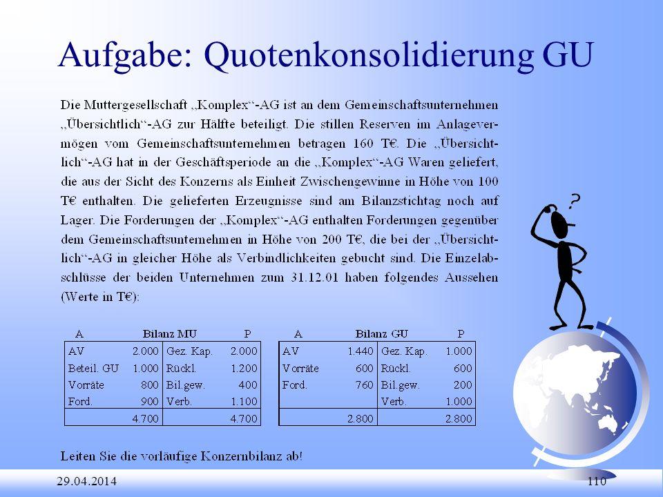 29.04.2014 110 Aufgabe: Quotenkonsolidierung GU