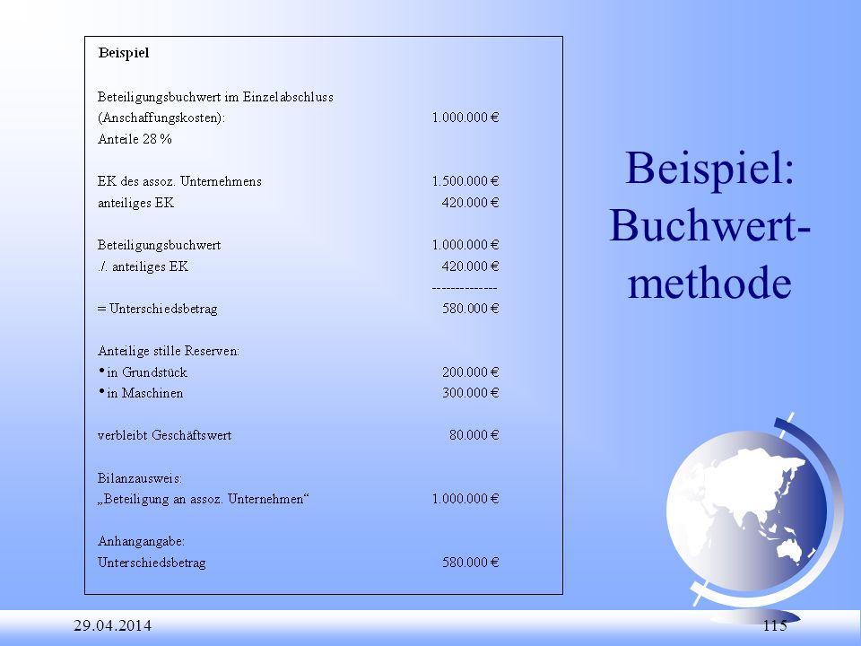 29.04.2014 115 Beispiel: Buchwert- methode