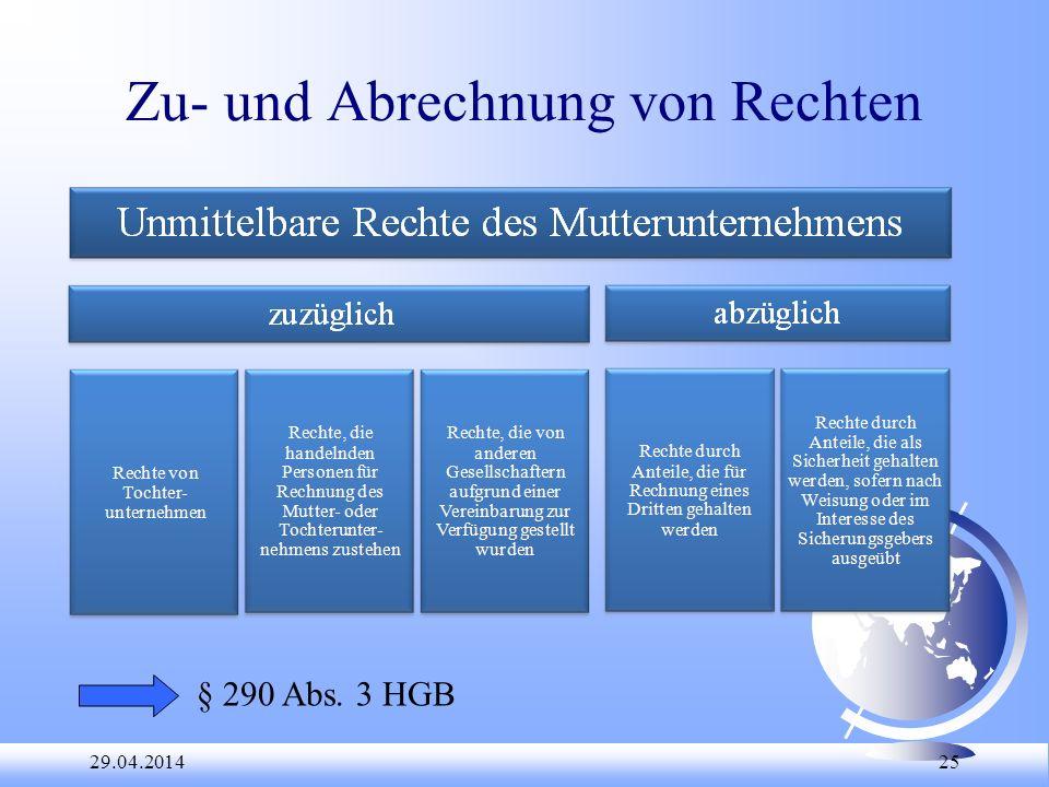 29.04.2014 25 Zu- und Abrechnung von Rechten § 290 Abs. 3 HGB