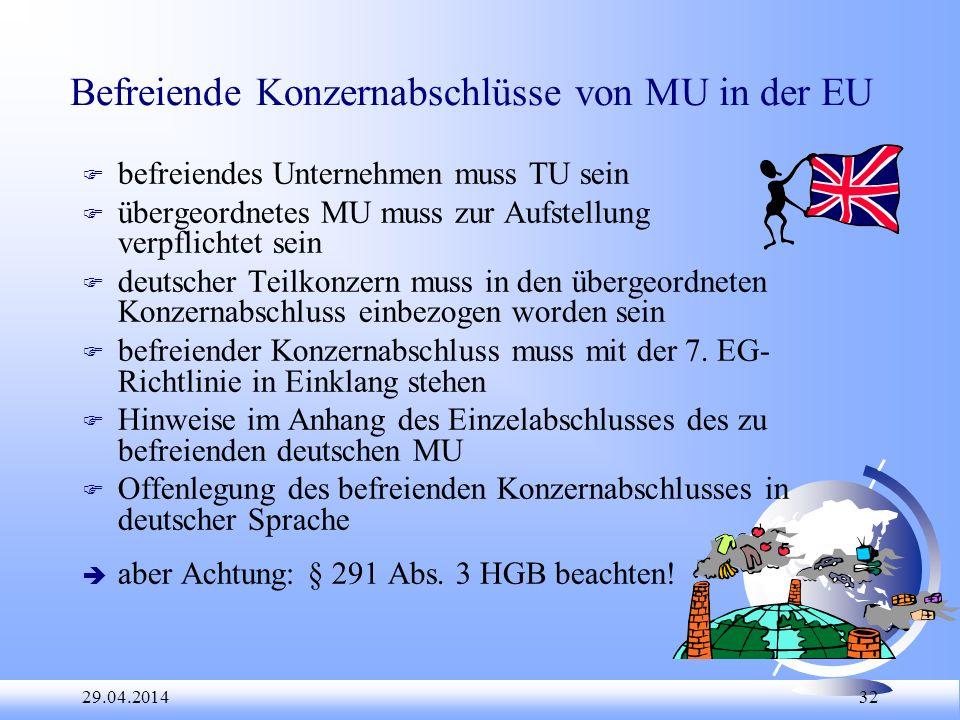29.04.2014 32 Befreiende Konzernabschlüsse von MU in der EU F befreiendes Unternehmen muss TU sein F übergeordnetes MU muss zur Aufstellung verpflicht