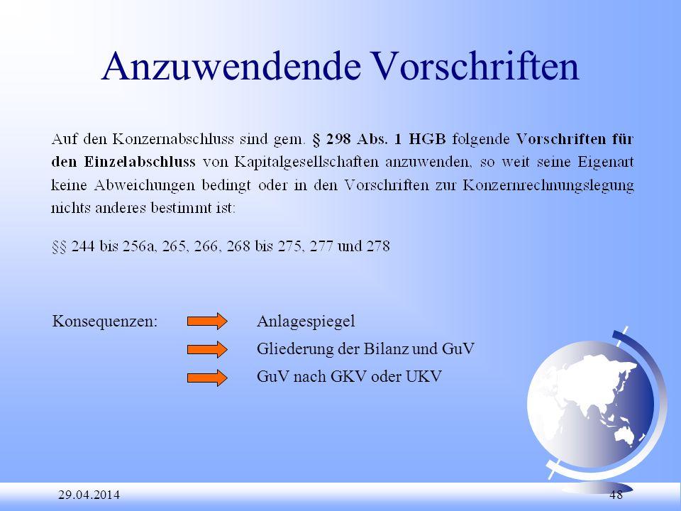 29.04.2014 48 Anzuwendende Vorschriften Konsequenzen:Anlagespiegel Gliederung der Bilanz und GuV GuV nach GKV oder UKV