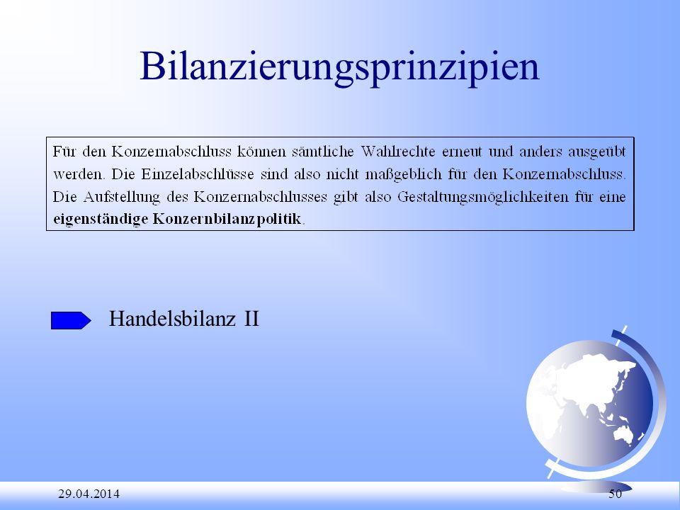 29.04.2014 50 Bilanzierungsprinzipien Handelsbilanz II