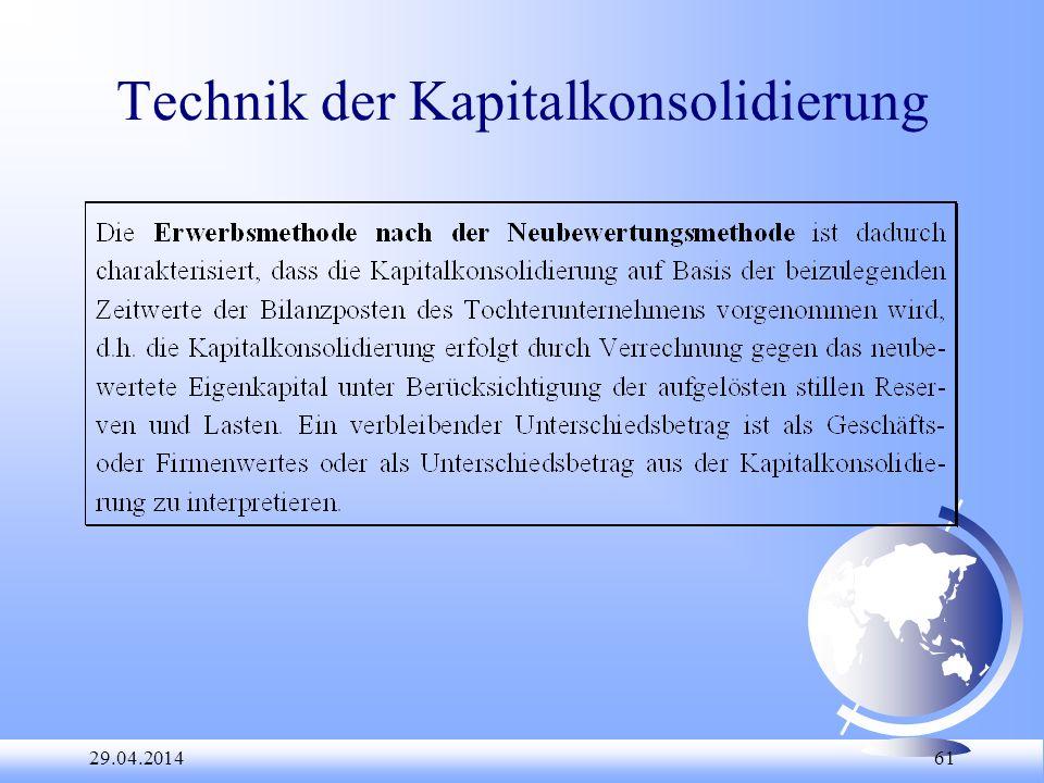 29.04.2014 61 Technik der Kapitalkonsolidierung