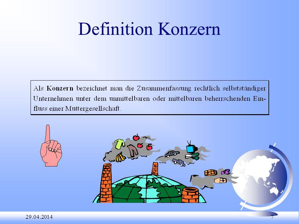 29.04.2014 38 Aufgabe: Konzernverbund