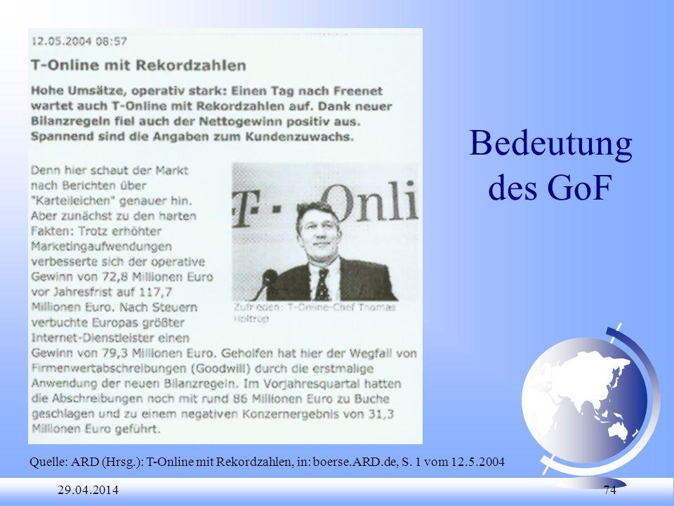 29.04.2014 74 Bedeutung des GoF Quelle: ARD (Hrsg.): T-Online mit Rekordzahlen, in: boerse.ARD.de, S. 1 vom 12.5.2004
