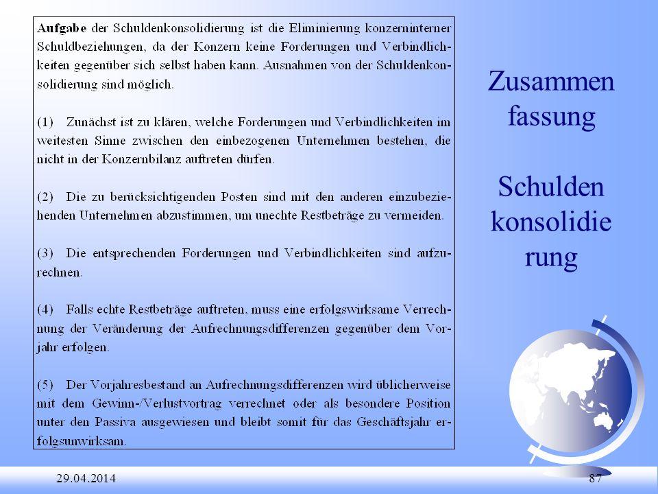 29.04.2014 87 Zusammen fassung Schulden konsolidie rung