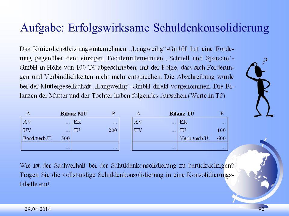 29.04.2014 92 Aufgabe: Erfolgswirksame Schuldenkonsolidierung