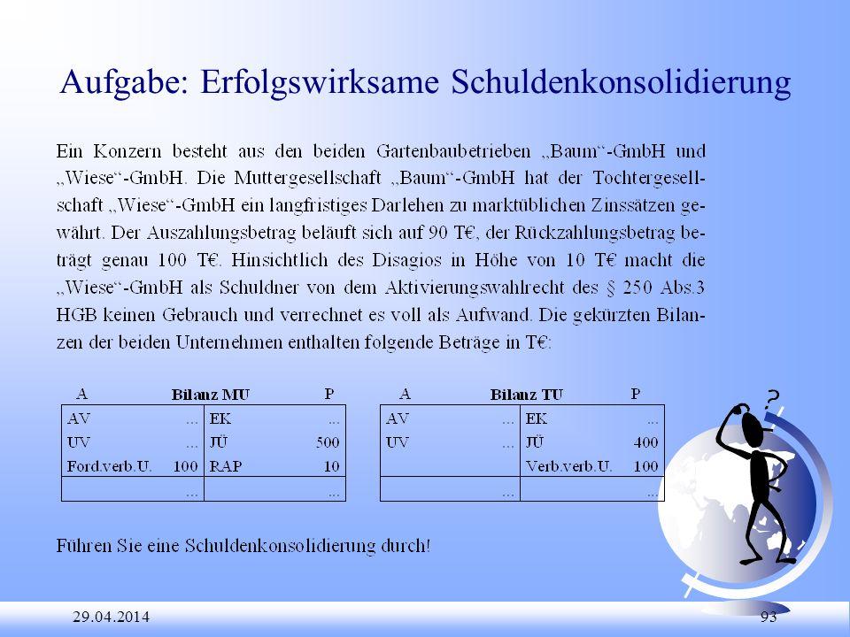 29.04.2014 93 Aufgabe: Erfolgswirksame Schuldenkonsolidierung