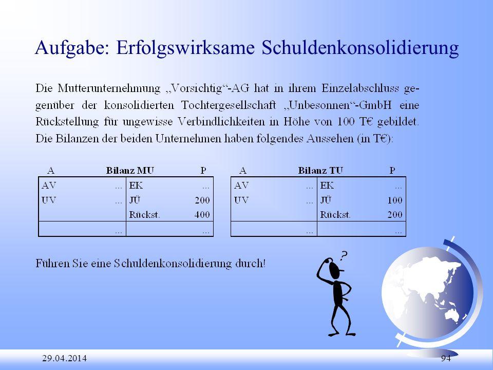 29.04.2014 94 Aufgabe: Erfolgswirksame Schuldenkonsolidierung