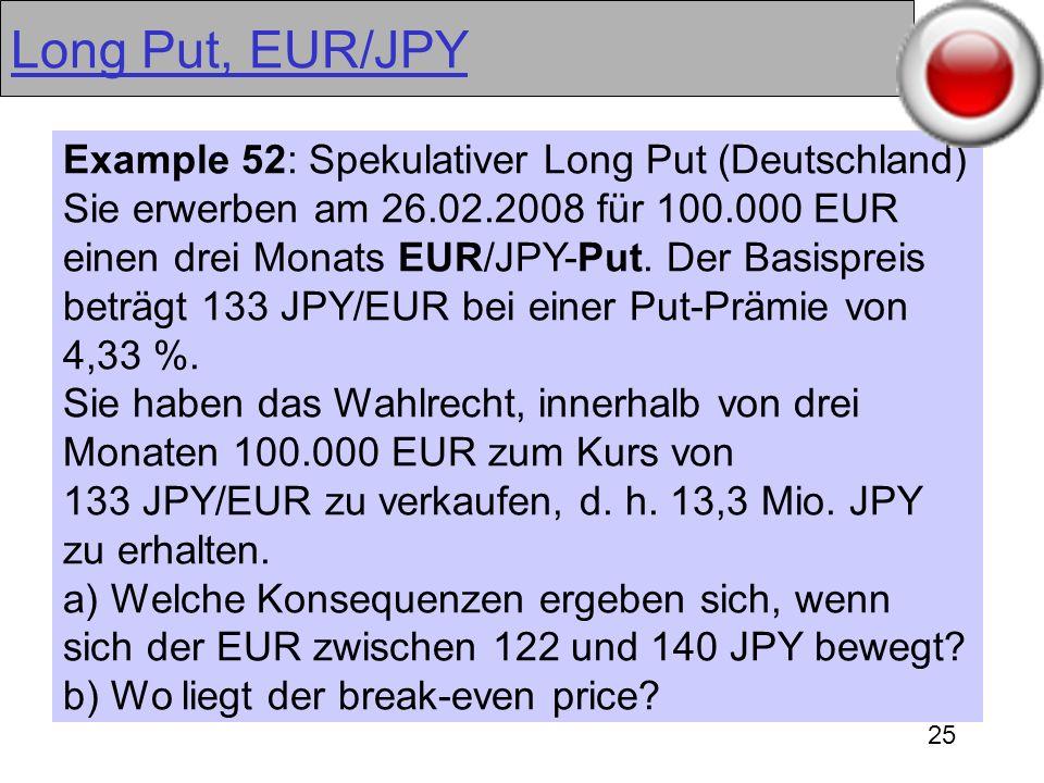 25 Long Put, EUR/JPY Example 52: Spekulativer Long Put (Deutschland) Sie erwerben am 26.02.2008 für 100.000 EUR einen drei Monats EUR/JPY-Put. Der Bas