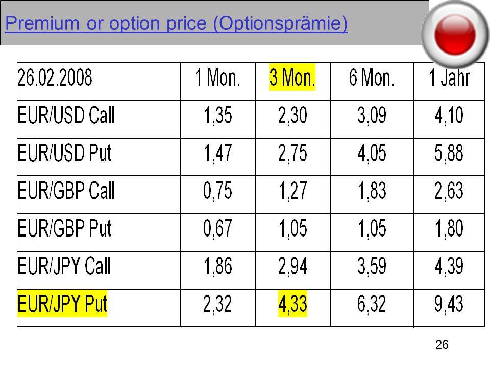 26 Premium or option price (Optionsprämie)