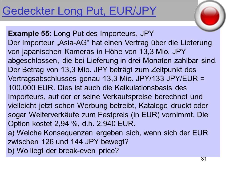 31 Gedeckter Long Put, EUR/JPY Example 55: Long Put des Importeurs, JPY Der Importeur Asia-AG hat einen Vertrag über die Lieferung von japanischen Kam