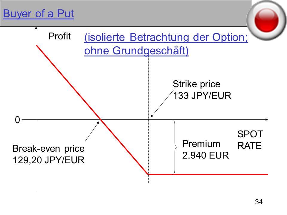 34 Buyer of a Put Premium 2.940 EUR Break-even price 129,20 JPY/EUR SPOT RATE Strike price 133 JPY/EUR Profit 0 (isolierte Betrachtung der Option; ohn