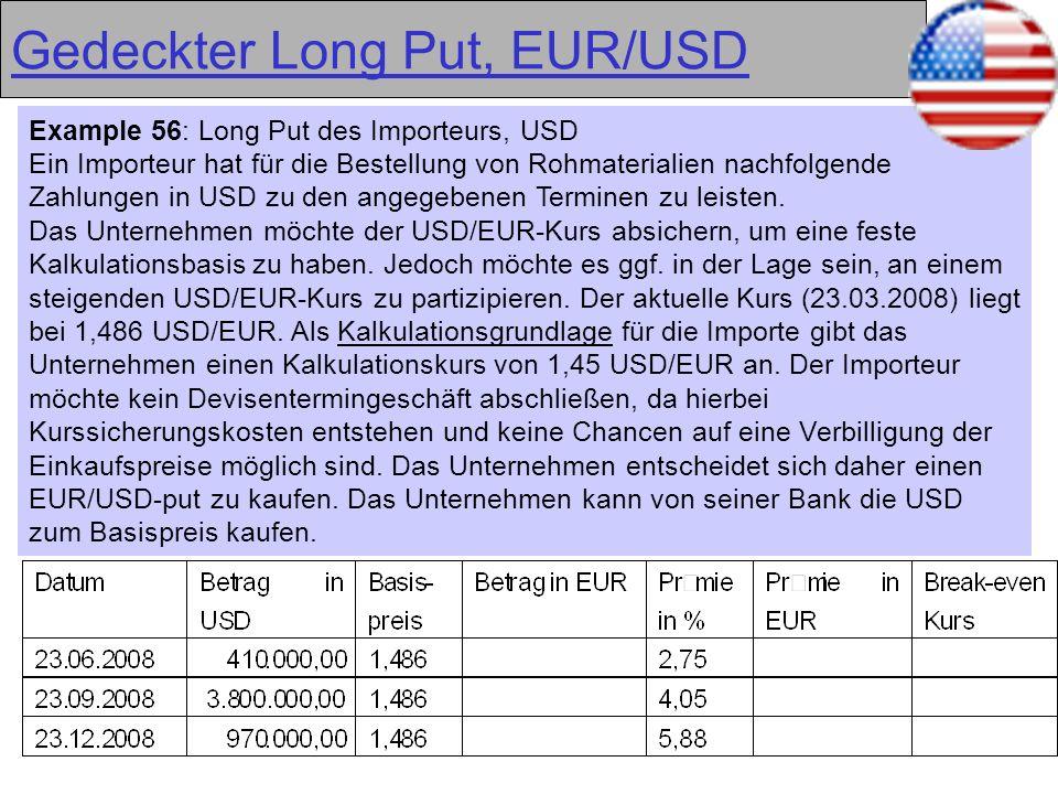 35 Gedeckter Long Put, EUR/USD Example 56: Long Put des Importeurs, USD Ein Importeur hat für die Bestellung von Rohmaterialien nachfolgende Zahlungen