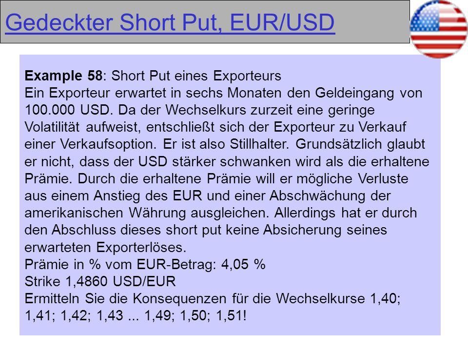 39 Gedeckter Short Put, EUR/USD Example 58: Short Put eines Exporteurs Ein Exporteur erwartet in sechs Monaten den Geldeingang von 100.000 USD. Da der