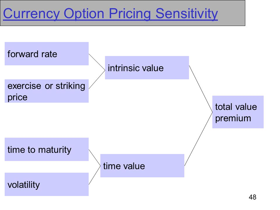 48 Currency Option Pricing Sensitivity forward rate exercise or striking price time value time to maturity volatility intrinsic value total value prem