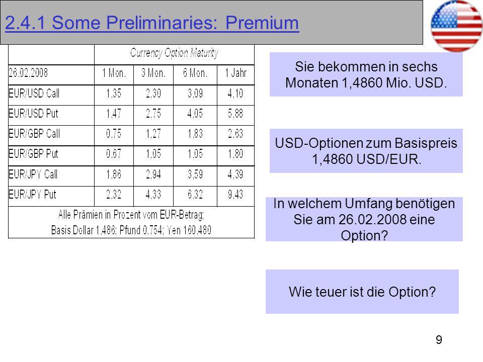9 2.4.1 Some Preliminaries: Premium Sie bekommen in sechs Monaten 1,4860 Mio. USD. USD-Optionen zum Basispreis 1,4860 USD/EUR. In welchem Umfang benöt