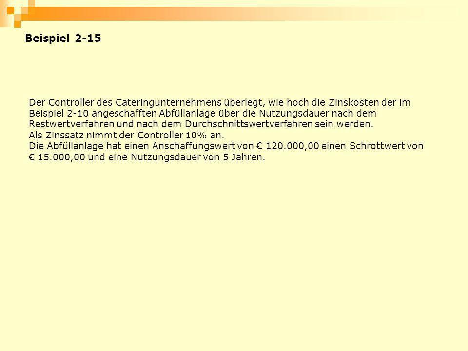 Beispiel 2-15 Der Controller des Cateringunternehmens überlegt, wie hoch die Zinskosten der im Beispiel 2-10 angeschafften Abfüllanlage über die Nutzu