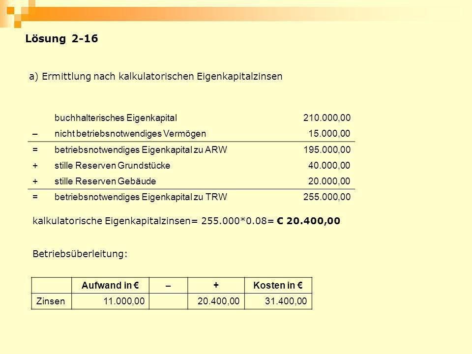 Lösung 2-16 a) Ermittlung nach kalkulatorischen Eigenkapitalzinsen buchhalterisches Eigenkapital210.000,00 –nicht betriebsnotwendiges Vermögen15.000,0