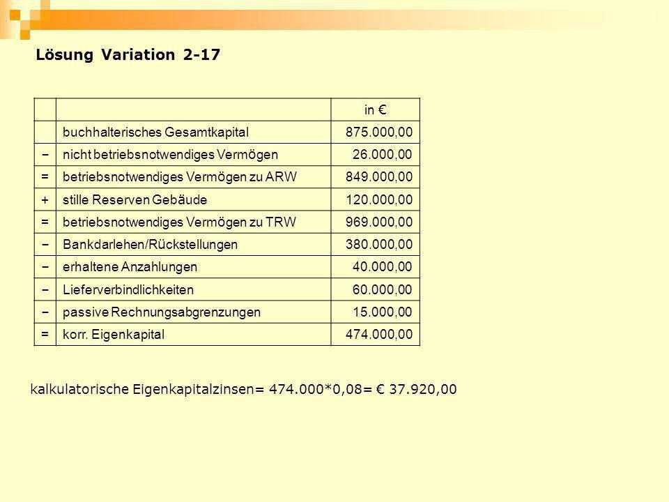 Lösung Variation 2-17 in buchhalterisches Gesamtkapital875.000,00 – nicht betriebsnotwendiges Verm ö gen 26.000,00 = betriebsnotwendiges Verm ö gen zu