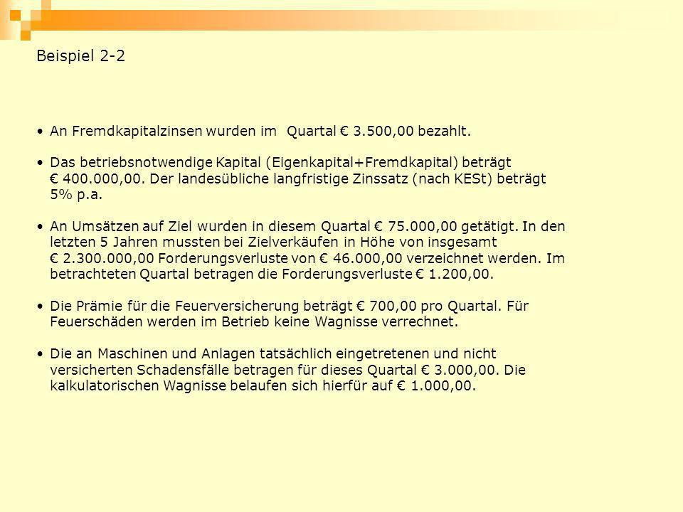 An Fremdkapitalzinsen wurden im Quartal 3.500,00 bezahlt. Das betriebsnotwendige Kapital (Eigenkapital+Fremdkapital) beträgt 400.000,00. Der landesübl
