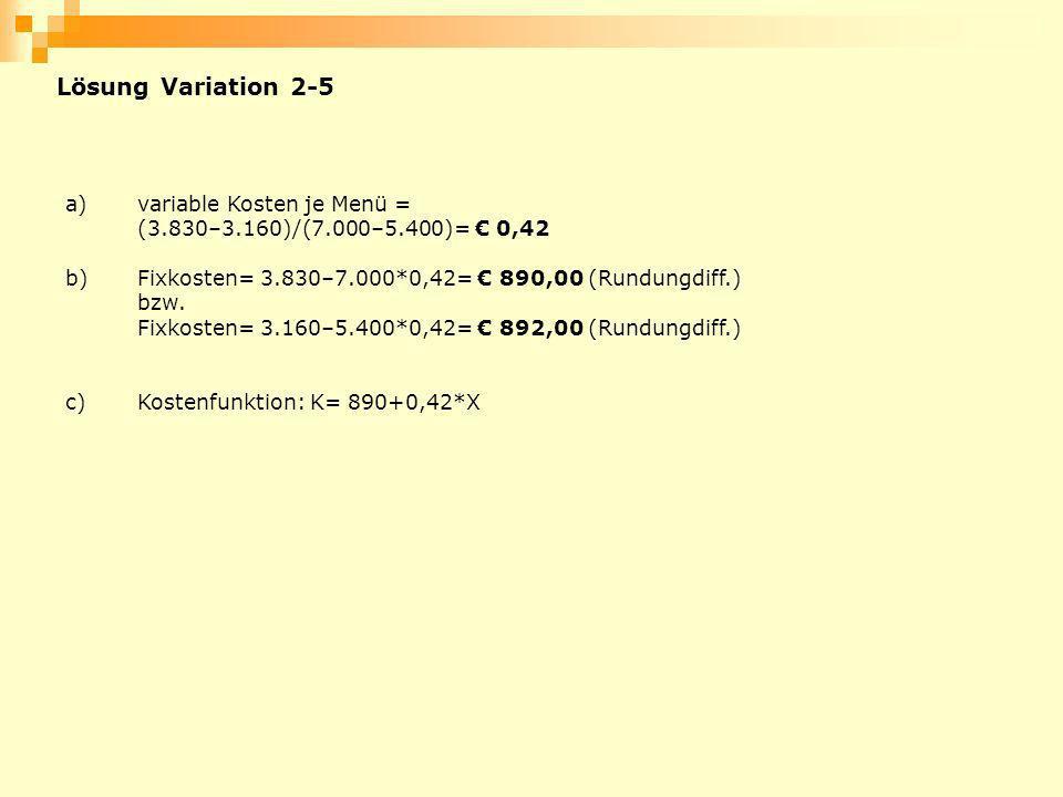 Lösung Variation 2-5 a)variable Kosten je Menü = (3.830–3.160)/(7.000–5.400)= 0,42 b)Fixkosten= 3.830–7.000*0,42= 890,00 (Rundungdiff.) bzw. Fixkosten
