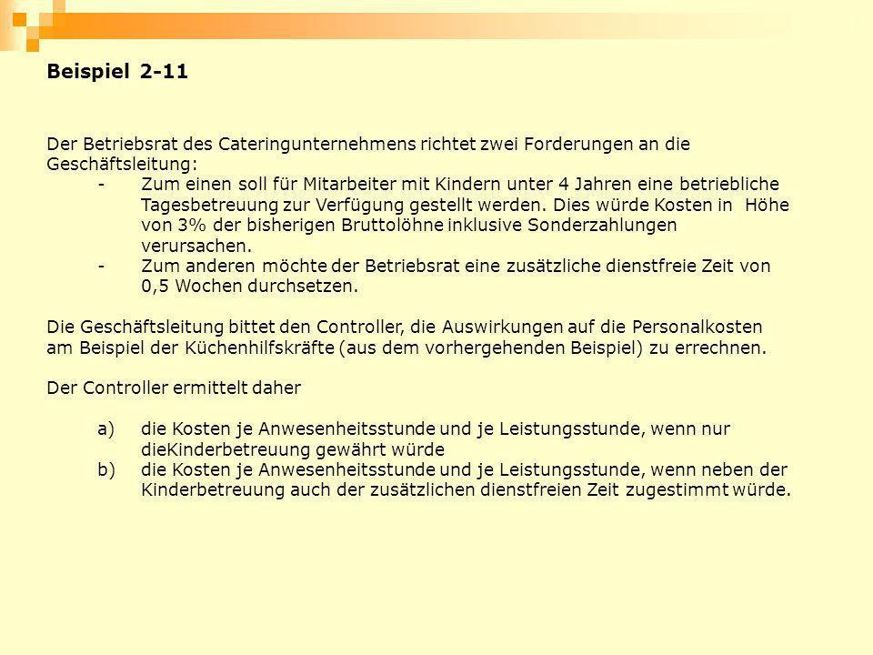 Beispiel 2-11 Der Betriebsrat des Cateringunternehmens richtet zwei Forderungen an die Geschäftsleitung: -Zum einen soll für Mitarbeiter mit Kindern u