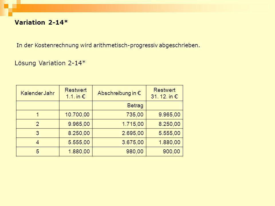 Kalender Jahr Restwert 1.1. in Abschreibung in Restwert 31. 12. in Betrag 110.700,00735,009.965,00 2 1.715,008.250,00 3 2.695,005.555,00 4 3.675,001.8
