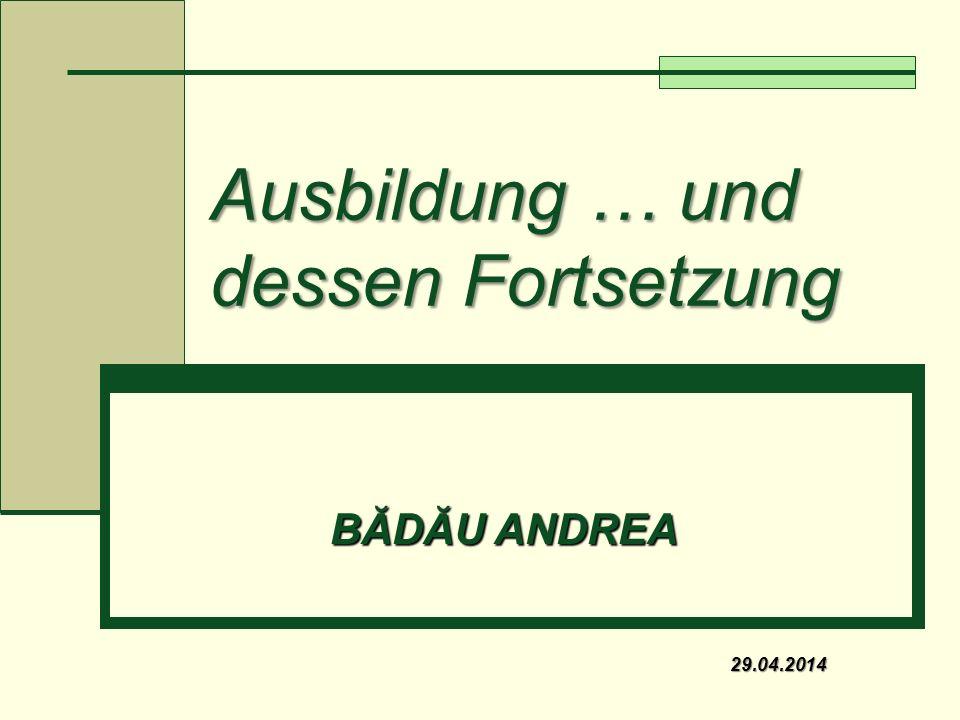 Ausbildung … und dessen Fortsetzung BĂDĂU ANDREA 29.04.2014