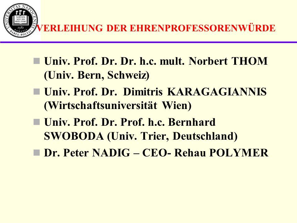 VERLEIHUNG DER EHRENPROFESSORENWÜRDE Univ.Prof. Dr.
