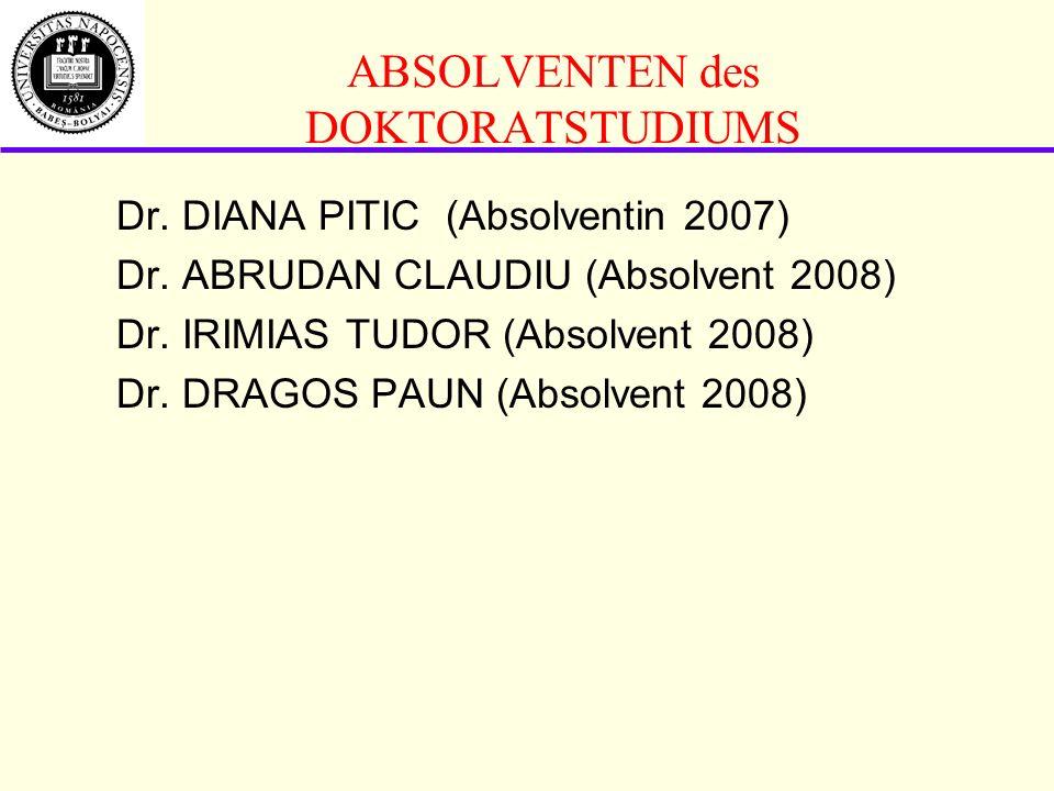 ABSOLVENTEN des DOKTORATSTUDIUMS Dr.DIANA PITIC (Absolventin 2007) Dr.