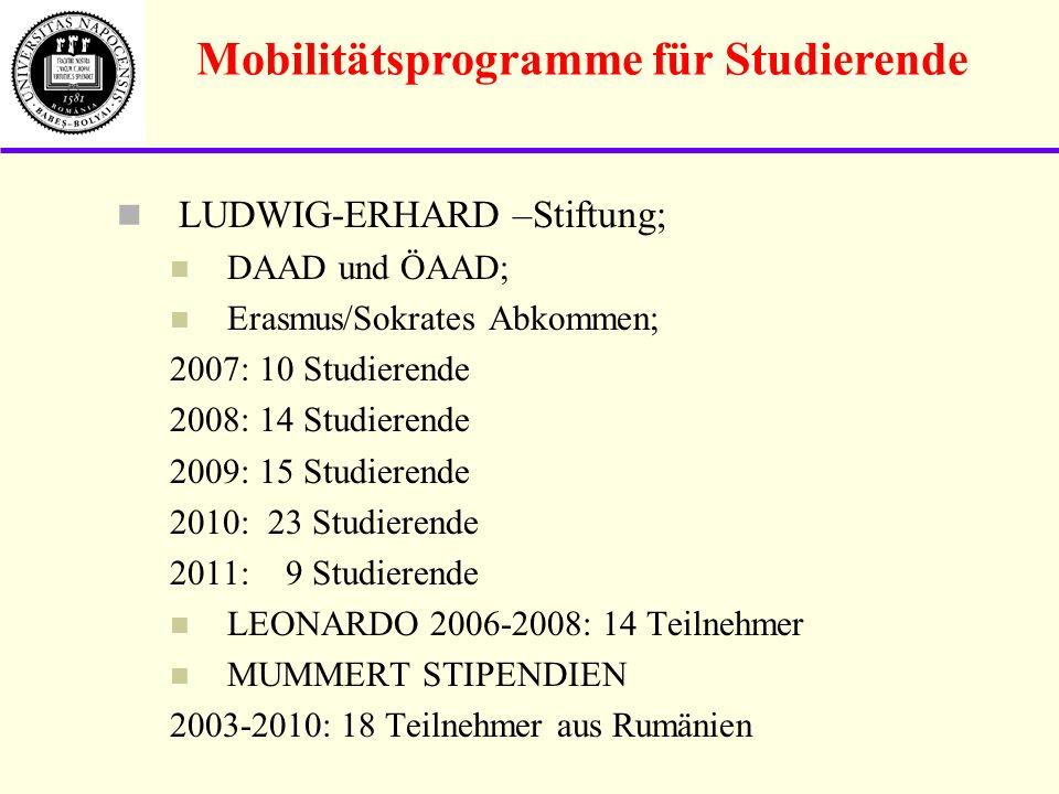 LUDWIG-ERHARD –Stiftung; DAAD und ÖAAD; Erasmus/Sokrates Abkommen; 2007: 10 Studierende 2008: 14 Studierende 2009: 15 Studierende 2010: 23 Studierende 2011: 9 Studierende LEONARDO 2006-2008: 14 Teilnehmer MUMMERT STIPENDIEN 2003-2010: 18 Teilnehmer aus Rumänien Mobilitätsprogramme für Studierende