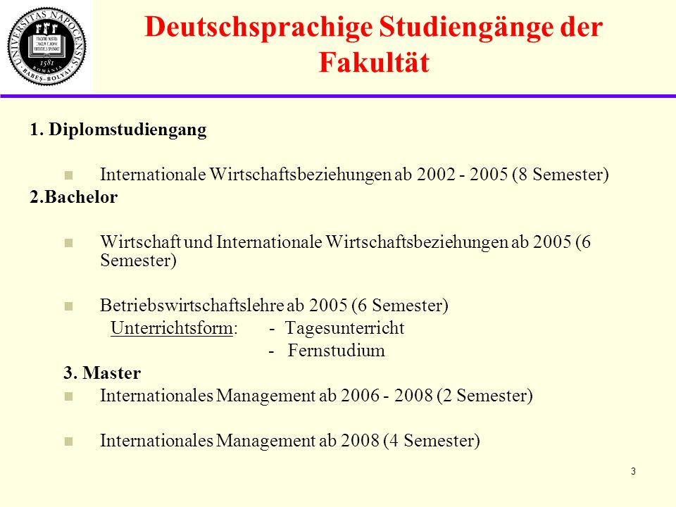 Deutschsprachige Studiengänge der Fakultät 1.