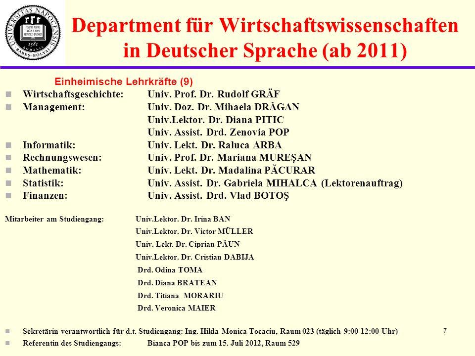 Department für Wirtschaftswissenschaften in Deutscher Sprache (ab 2011) Einheimische Lehrkräfte (9) Wirtschaftsgeschichte: Univ.
