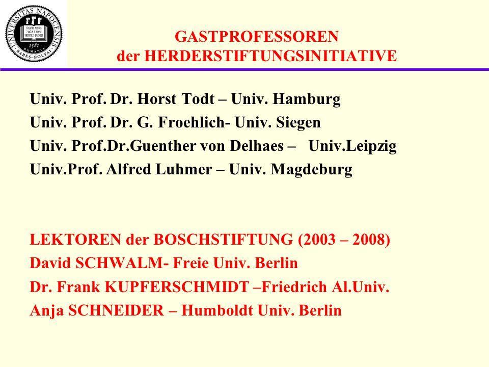 GASTPROFESSOREN der HERDERSTIFTUNGSINITIATIVE Univ.