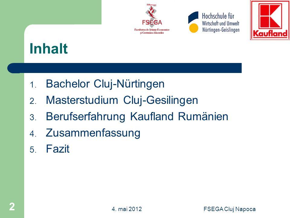 Inhalt 1. Bachelor Cluj-Nürtingen 2. Masterstudium Cluj-Gesilingen 3. Berufserfahrung Kaufland Rumänien 4. Zusammenfassung 5. Fazit FSEGA Cluj Napoca