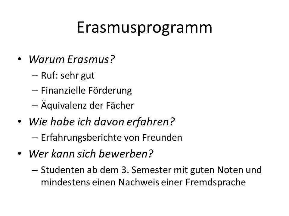 Erasmusprogramm Warum Erasmus? – Ruf: sehr gut – Finanzielle Förderung – Äquivalenz der Fächer Wie habe ich davon erfahren? – Erfahrungsberichte von F